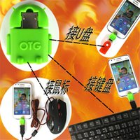 Wholesale Robot Shap OTG cable adapter card reader Mini USB2 microSD TF for Samsung moblie cellphone Smartphone Tablet PC LG MP3