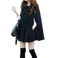 Wholesale Hot New Winter Women Ladies Long Woolen Poncho Coat O Neck Batwing Jacket Loose Warm Wool Cloak Cape Overcoat casaco feminino Z1