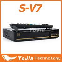 Wholesale 5pcs Original SKYBOX V7 Digital Satellite Receiver S V7 S V7 with AV output VFD Screen WEB TV USB Wifi G Biss Key Youporn CCCAMD NEWCAMD