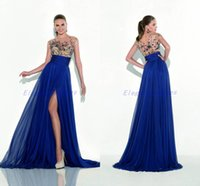 Cheap Custom Made 2016 Tarik Ediz Prom Dresses Cap Sleeve Ball Gown Chiffon Royal Blue Sheer Pageant Gowns with Pearls Stunning Party Dresses