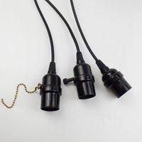 bakelite pulls - Types Vintage Pendant Light Black Bakelite Color Lamp Holder With Pull Switch AC V E27 Pendant Lamp Holder
