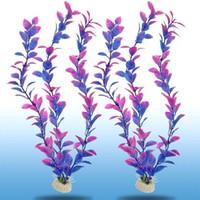 Wholesale 2 Grass Plastic Purple Plants Ornament Decora Quarium Supplies Aquarium Decoratio Plants Ornament Decor For Fish Tank