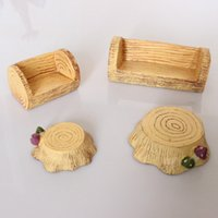 Wholesale 4 Designs Set miniatures lovely Cottage Tree Furniture Sofa and Stool DIY Resin Craft Decorations