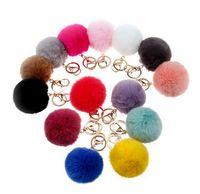 ball chain lanyards - 8CM Super Round Metal Key Chain Real Rabbit Hair Bulb Fur Plush Pom Poms Ball Bag Car Ornaments Pendant Key Ring