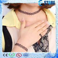 Wholesale Fashion Style Hot Magic Vintage Tattoo Choker Stretch Necklace Bracelet Set Elastic Jewelry wu