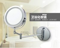 bathroom face - New fashion inches led bathroom mirror Dual Arm Extend Face Makeup mirror magnifying X Equipped metal round Wall mirror