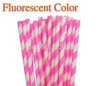 baby shower outlet - 500pcs Fluorescent Hot Pink Striped Paper Straws Neon Color Outlet Wedding Decor Paper Straws Mason Jars Party Baby Shower