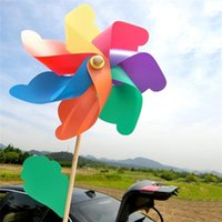 Wholesale 18cm cm boys girls kids colorful windmills cheap DIY plastic windmill toy classic toys windmill solid rod