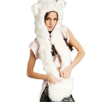 animal hat with mittens wolf - New Arrival Panda Tiger Wolf Animal Hood Faux Fur Men Women Hat with Warm Scarf Mittens Ears And Paws Spirit Boys Girl Hats