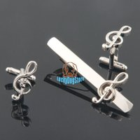 Wholesale 2015 new music note cufflinks and tie clip set for mens high quality shirt jewelry novelty cuff links clips