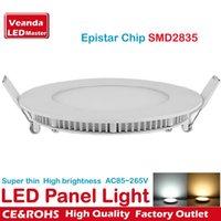 Wholesale Recessed LED Panel Light W W W W W W W W ultra thin Celing downlight Epistar SMD2835 AC85 V round flat lights