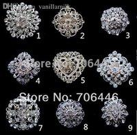 Wholesale Silver Plated Rhinestone Crystal Small Flower Bouquet Wedding Brooch Pin