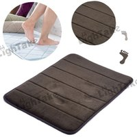 Wholesale Anti Slip Coral Velvet SBR Memory Foam Bath Mats rug Coffee