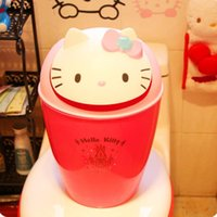Wholesale Hello Kitty garbage can Lovely trash can flip trash KT cat cartoon doll sundry receive barrel