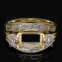 emerald cut diamonds - Vintage Emerald Cut Semi Mount Ring x7mm Solid Kt Yellow Gold Diamond Setting Ring WU162