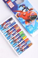 Wholesale Hot Box Popular Big Hero colors school Student color drawing Oil pastel painting stick cartoon Wax Crayon