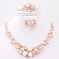 Wholesale Pink White Imitation Pearl Necklace Earring Bracelet Ring Four Piece Jewelry Set For Women K Gold Plated Rhinestoine Necklace Set