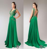 Hanna Toumajean 2017 verde esmeralda vestidos de noche V cuello encaje Appliqued gasa Backless vestidos de fiesta vestidos de celebridad