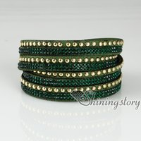 Wholesale punk style crystal slake bracelets shiny rhinestone bracelet bling bling double layer wrap bracelets wristbands adjustable rhinestone