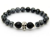 achat en gros de bracelet crâne élastique-Perlée 2015 Nouveau design Yoga Bijoux de 8mm pour hommes en gros flocon de neige Stone Beads Antique Silver Skull Bracelets élastiques