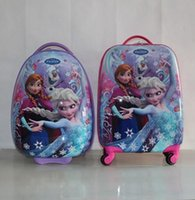 Wholesale Hot Sale Snow Queen snow stereo children girls luggage suitcase cartoon quot Pull rod box school bag Christmas gift
