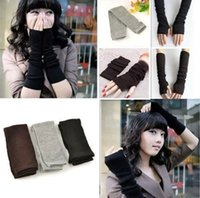 Wholesale 200pcs Free DHL Sipping New Fashion Women Girl s Knitted Wool Long Fingerless Arm Warmers Gloves Solid