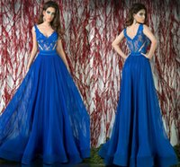 dresses uk - Royal Blue Evening Dresses V Neck Lace Applique Straps Sweep Train A Line Formal Prom Gowns Wear Custom Made Online UK