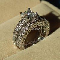 antique princess cut diamond ring - Victoria Wieck Antique Style Engagement KT White Gold Filled Princess cut simulated Diamond Wedding Band Ring set gift Sz5