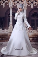 Cheap 2015 Fashionable Arabic Wedding Dresses With Floor-Length High Neck Long Sleeves Ivory Islamic Wedding Dresses 2015 Bridal Gown L030221