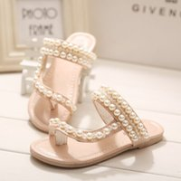 Wholesale Summer New Item Rhinestone Pearl Children Girls Princess Shoes Sandals Female Slippers Pink Red White