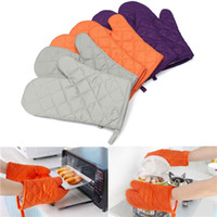 Wholesale New Pair Kitchen Heat Resistant Cotton Glove Oven Pot Holder Baking Cooking Mitts Microwave Colors Orange Grey Purple