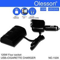 Cigarrillos adaptador de cargador de coche para el iphone 5 teléfono móvil 6 Cell GPS - 120W de cuatro Spliter Socket con carga USB en accesorios de coches nuevos