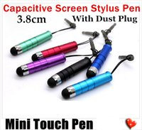 Wholesale 1000pcs Mini Bullet Type Capacitive Stylus Pen Touch Screen Pen with dust plug for iPhone iPad samsung smartphone Tablet PC