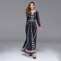 Wholesale V NECK BLACK RED COLOR vintage s mexican ethnic floral Dress With Long Sleeves Plus Size Dress