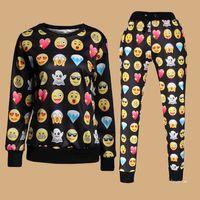 Cheap Harajuku 2015 new 3D tracksuits print cartoon emoji jogging suits sweat shirts + pants 2 piece set for men women sportwear