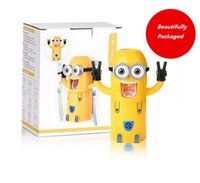 bath dispenser - ree Shipping Despicable Me Cute Minions Automatic Toothpaste Dispenser Toothbrush Holder Set Wall Mount Rack Bath Set