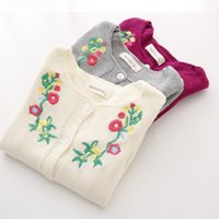 age coats - 2015 Autumn Winter Girls Cardigans Coats Knitted Sweater With Flower Embroidery European Style Cotton Girl Sweaters Colors For Age
