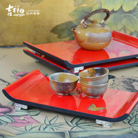 Wholesale JIXIANGJIA chinese modern style lacquer pallet red wool teaberries multi layer decoration plate