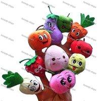 Cheap 500pcs Velvet Fruit Vegetable Finger Puppets Baby Kids Children Toys finger Puppet Dolls Toys Story-telling Props Tools Toy