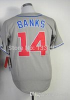 banks number - 30 Teams New Ernie Banks Jersey Embroidery team logo name number patch size Baseball Banks Grey White Stripe jersey