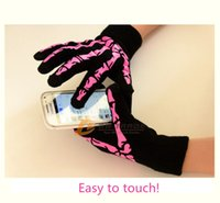 Wholesale DHL colors Cell Phone Gloves Joint Skull Design Gloves people Winter Warm Classic Skeleton Five Finger Knitted Gloves J121903