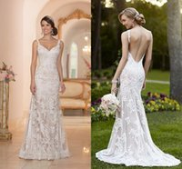 Wholesale Elegant New York Inspired Ivory White Lace Wedding Dresses Backless Trumpet Mermaid Sweetheart Appliques Sweep Train Bridal Gown