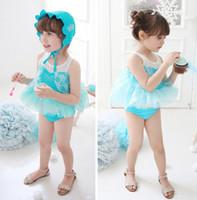 Wholesale New Arrival Girl Frozen Swimsuit Children Blue Tulle Tutu Dress swimsuits sets Kids spa beach Swimwear Child Clothing
