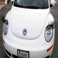 Logo Sticker Preto 3D Automotive Farol Cílios Car Eye Lashes Auto pestana 3D carro charmoso cílios adesivos para carros 200pairs 400pcs =