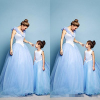 apple baby clothes - 2015 Mother and Daughter Dress Lovely Spring Tulle Family Clothing for Special Occasion Evening Dresses Baby Kids Light Sky Blue Crystal