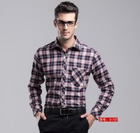 big herringbone - Fashion Original Men Spring cotton easy care casual big size long sleeve flannel plaid formal suit dress wedding shirt