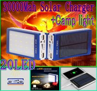 Wholesale 30000mah solar camping light charger led mah power bank led camp lights Dual USB battery energy Panel chargers Ports SOS help