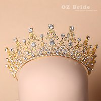 Rhinestone/Crystal pageant crowns - Luxury Gold Rhinestone Crystal Bridal Tiaras Wedding Crown Headband Hair Accessories Pageant Party Wedding Tiara