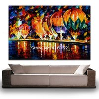 balloon flower picture - Palette Knife Oil Painting Balloon Park Flower Street Picture Printed on Canvas Mural Art for Home Office Hotel Wall Decoration