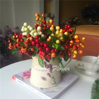 artificial blueberries - Home Hotel Decor artificial Berry Plants color Artificial Blueberry Decorative PE Berry Bouquet Fruit Decorative Flowers